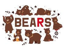 Bears Banner Vector Illustration. Cartoon Brown Grizzly Bear. Teddy In Different Pose And Activities, Sitting, Dancing Stock Photography