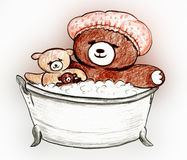 Bears Bubble Bath Royalty Free Stock Photos