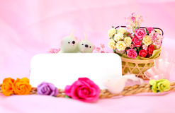 Bears candle and the flower on white background with clipping pa Stock Images