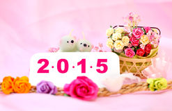 Bears candle on the 2015 New year flower background with clippin Royalty Free Stock Images