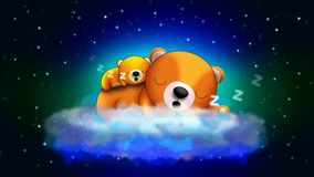 Bears cartoon sleeping on cloud, best loop video screen background for lullaby to put a baby to sleep, calming relaxing