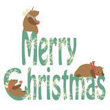 Bears celebrating Christmas. Vector greeting card,cute little bears celebrating Christmas Vector Illustration