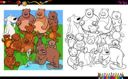 Bears characters group coloring book Stock Images
