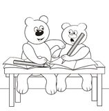 Bears in class-coloring book Royalty Free Stock Photography