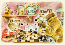 Bears daddy and son. Teddy bears daddy and son playing chess. Useful for Father's Day card Stock Photo