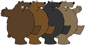Bears dancing the Can-can. This illustration depicts four bears dancing the Can-can in unison Royalty Free Stock Image