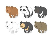 Bears of different breeds collection of six species royalty free illustration