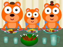 Bears eat together Stock Photography