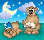 Bears family. Two bears under evening sky - color illustration royalty free illustration