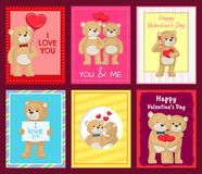 Bears on Festive Postcards for Valentines Day. Cute teddy bears that hugs, confess in love, holds hearts and kiss on festive postcards for Valentines Day Stock Photos