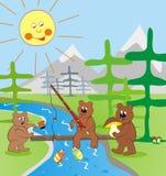 Bears on fish Royalty Free Stock Image
