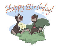 Bears happy birthday postcard Royalty Free Stock Photos