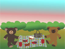 Bears having a picnic on the grass. Two teddy bears having a picnic on the grass Royalty Free Stock Photo