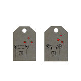 Bears with hearts on tag, little bears tags, valentines day label. Cute animals Stock Images