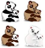 Bears hug. Set of four big bears with cubs in a small hug Stock Photography