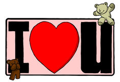 Bears on i love you sign. Two bears sitting around a sign that says I Love U Royalty Free Stock Photo