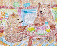 Bears cooking in kitchen drawing Stock Photos