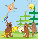 Bears and kites Stock Photo