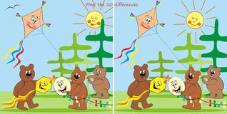 Bears and kites-find 10 differences. Find ten differences in the pictures - teddy bears fly kites Stock Photos