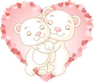 Bears in love. Two very cute polar bears in love Stock Images