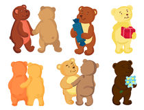 Bears in love. A set of teddy bears in love.They dance, hug, give gifts, congratulations to the holidays Royalty Free Stock Photos