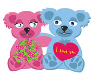 Bears in love , isolated illustration Stock Photos