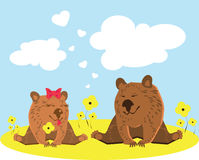 Bears in Love Marry me illustration Wedding. Concept Royalty Free Stock Photo