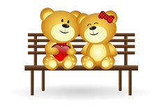 Bears In Love. Sit down on bench Stock Image