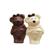 Bears made from different kinds of chocolate. Little bears made from different kinds of chocolate royalty free stock photo