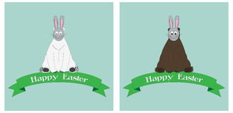 Bears in masks of hares. Unusual cards for Easter. Set of unusual cards for your design stock illustration