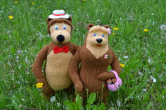 Bears Meadow. Knitted toy bear in a meadow Stock Image