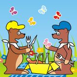 Bears and picnic Royalty Free Stock Photography