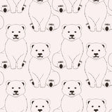 Bears pink seamless pattern on neutral background Stock Image