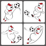 Bears plays football.Cartoon  humorous illustration set Royalty Free Stock Images
