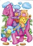 Bears riding a dinosaur Royalty Free Stock Image