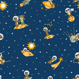 Bears spacemen. This background is cropped and all elements are laying at one layer Royalty Free Stock Photos