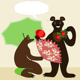 Bears with tomatoes Royalty Free Stock Photos