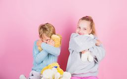 Bears toys collection. Teddy bears help children handle emotions and limit stress. Siblings playful hold teddy bear. Plush toys. Boy and girl play with soft stock image