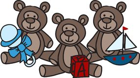 Bears With Toys Royalty Free Stock Image