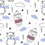 Bears, trees, clouds forest scandinavian seamless pattern royalty free illustration