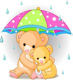 Bears under umbrella. Two cute Teddy bears carrying  umbrella. Vector Stock Image