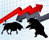 Bears Versus Bulls Stock Market Concept Royalty Free Stock Photo