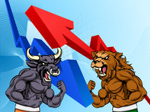 Bears Versus Bulls Stock Market Concept. Stock market concept of a cartoon bear fighting a bull mascot character in front of a financial or profit graph Royalty Free Stock Images