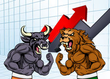 Bears Versus Bulls Stock Market Concept. A cartoon bear fighting a bull mascot characters in front of a stock market or profit graph financial concept Stock Images