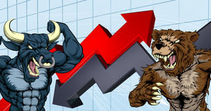 Bears Versus Bulls Stock Market Concept. Financial concept of a cartoon bear fighting a bull mascot characters in front of a stock market or profit graph Stock Photo