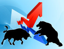 Bears Versus Bulls Stock Market Concept. Financial concept of a silhouette bear fighting a bull mascot characters in front of a stock market or profit graph Royalty Free Stock Image