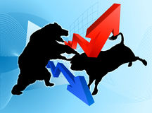 Bears Versus Bulls Stock Market Concept. Stock market concept of a silhouette bear fighting a bull mascot character in front of a financial or profit graph Stock Photo