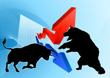 Bears Versus Bulls Stock Market Concept Stock Photo