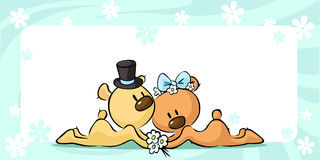 Bears in wedding dress lies on horizontal design - vector vector illustration