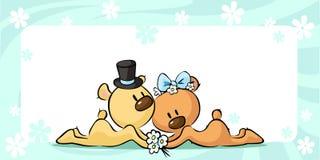 Bears in wedding dress lies on horizontal design - vector Royalty Free Stock Photo
